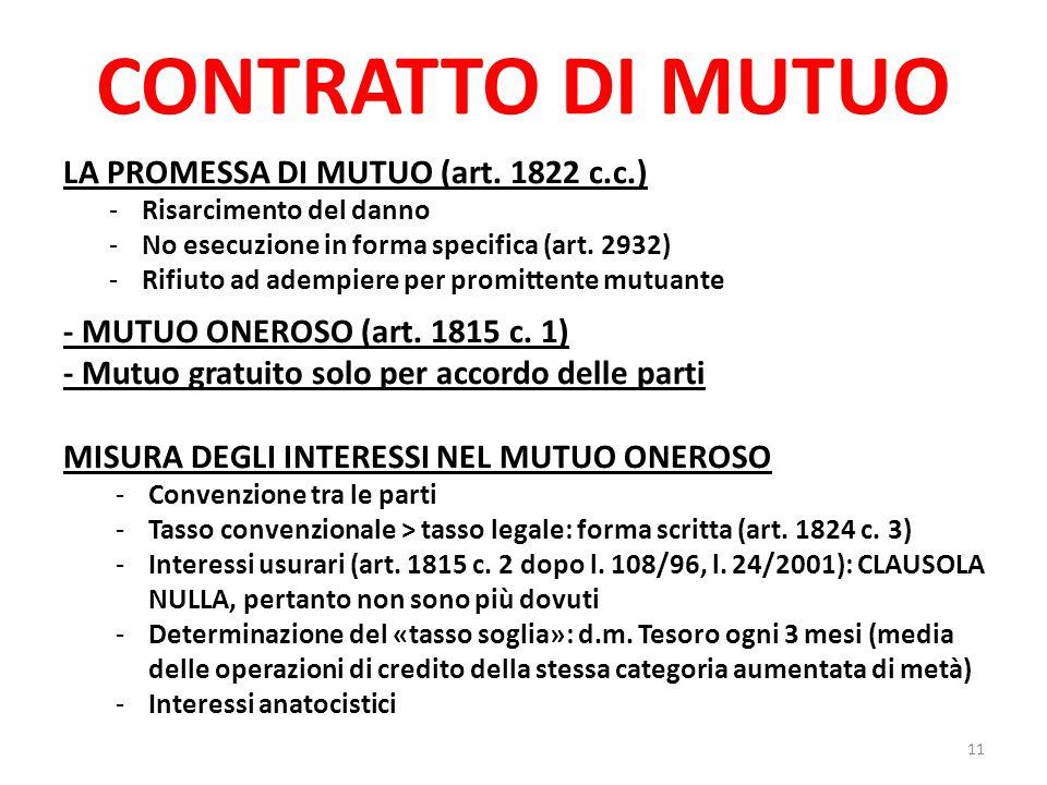 CONTRATTO DI MUTUO LA PROMESSA DI MUTUO (art. 1822 c.c.) -Risarcimento del danno -No esecuzione in forma specifica (art. 2932) -Rifiuto ad adempiere p