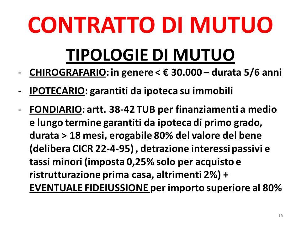CONTRATTO DI MUTUO TIPOLOGIE DI MUTUO -CHIROGRAFARIO: in genere < € 30.000 – durata 5/6 anni -IPOTECARIO: garantiti da ipoteca su immobili -FONDIARIO: