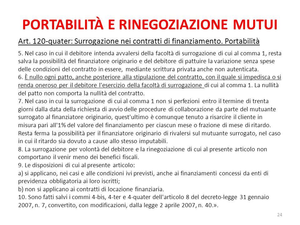 PORTABILITÀ E RINEGOZIAZIONE MUTUI Art. 120-quater: Surrogazione nei contratti di finanziamento. Portabilità 5. Nel caso in cui il debitore intenda av