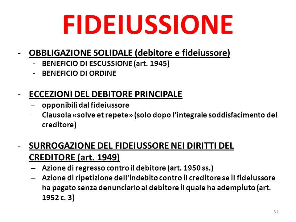FIDEIUSSIONE -OBBLIGAZIONE SOLIDALE (debitore e fideiussore) -BENEFICIO DI ESCUSSIONE (art. 1945) -BENEFICIO DI ORDINE -ECCEZIONI DEL DEBITORE PRINCIP