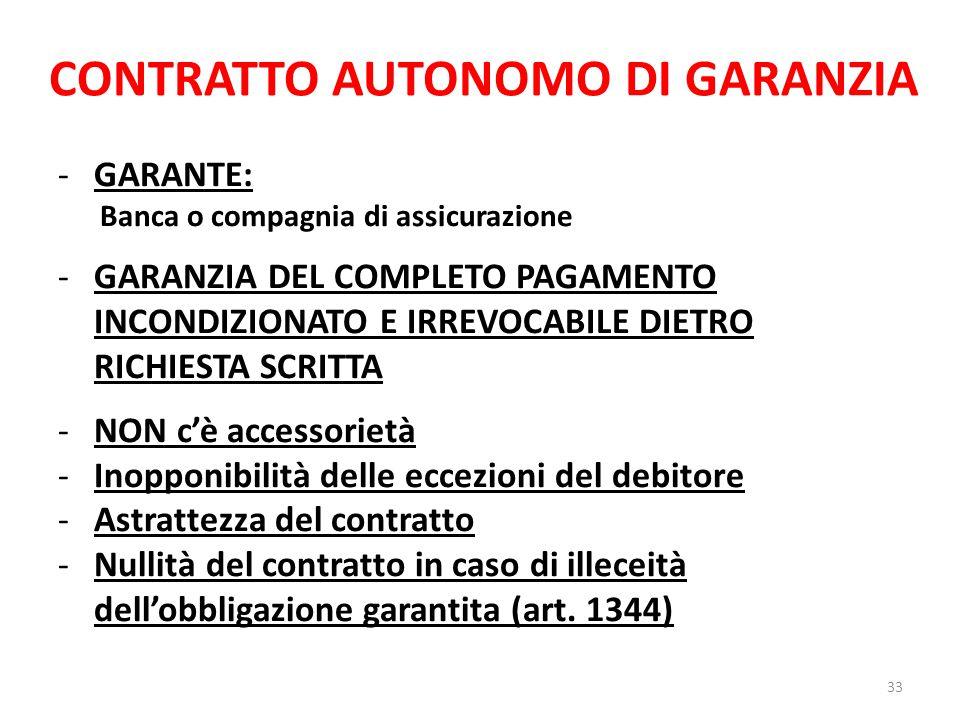 CONTRATTO AUTONOMO DI GARANZIA -GARANTE: Banca o compagnia di assicurazione -GARANZIA DEL COMPLETO PAGAMENTO INCONDIZIONATO E IRREVOCABILE DIETRO RICH