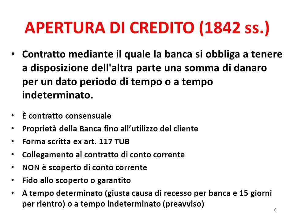 APERTURA DI CREDITO (1842 ss.) Contratto mediante il quale la banca si obbliga a tenere a disposizione dell'altra parte una somma di danaro per un dat