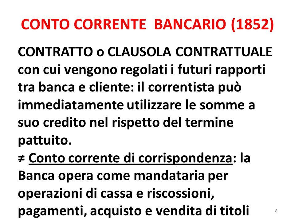 CONTO CORRENTE BANCARIO (1852) CONTRATTO o CLAUSOLA CONTRATTUALE con cui vengono regolati i futuri rapporti tra banca e cliente: il correntista può im