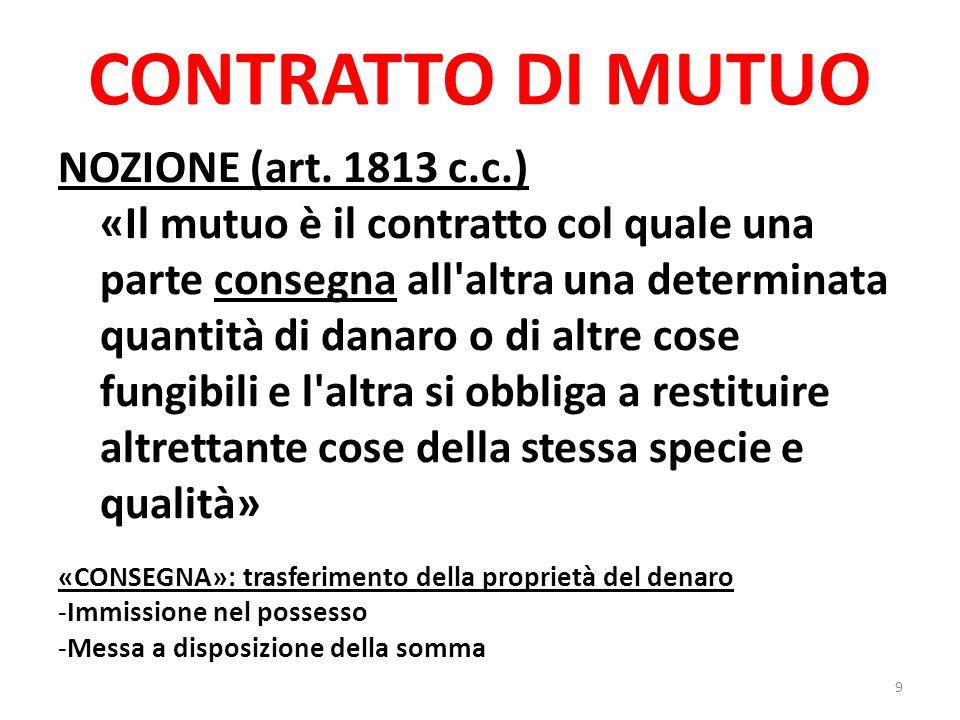CONTRATTO DI MUTUO CARATTERISTICHE DEL CONTRATTO DI MUTUO -Contratto reale -Effetti obbligatori -Prestazioni corrispettive .