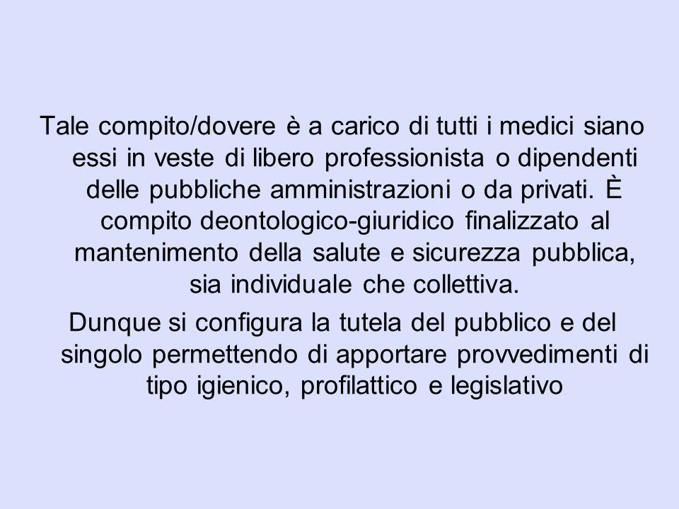 Tale compito/dovere è a carico di tutti i medici siano essi in veste di libero professionista o dipendenti delle pubbliche amministrazioni o da privat