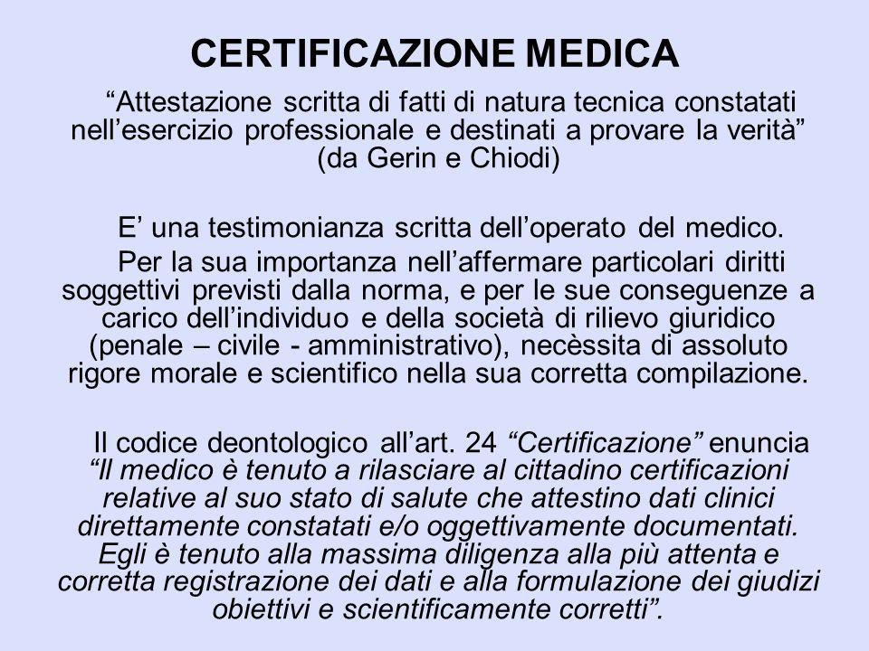 """CERTIFICAZIONE MEDICA """"Attestazione scritta di fatti di natura tecnica constatati nell'esercizio professionale e destinati a provare la verità"""" (da Ge"""