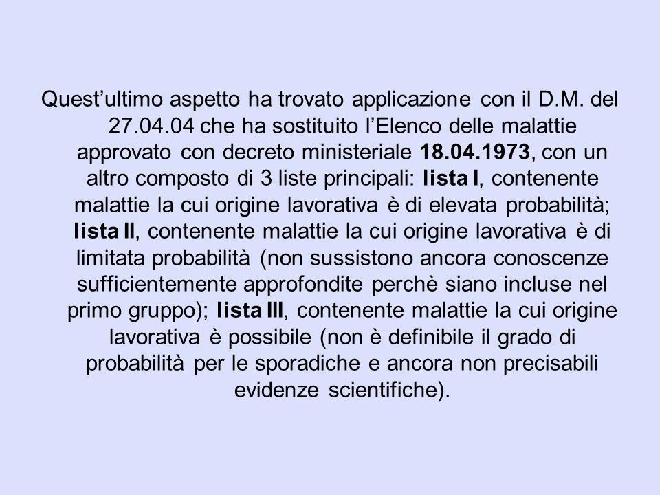 Quest'ultimo aspetto ha trovato applicazione con il D.M. del 27.04.04 che ha sostituito l'Elenco delle malattie approvato con decreto ministeriale 18.