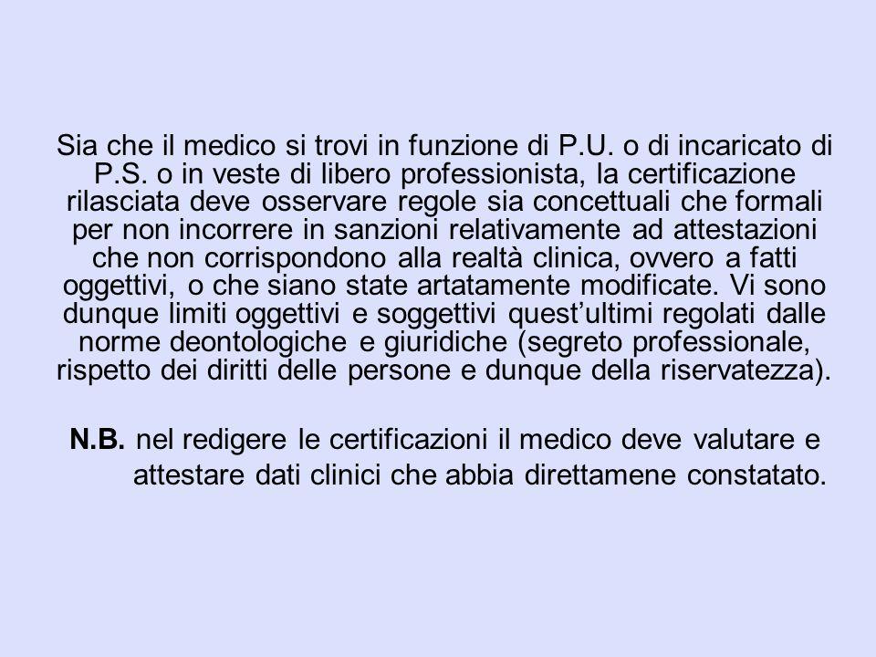 Sia che il medico si trovi in funzione di P.U. o di incaricato di P.S. o in veste di libero professionista, la certificazione rilasciata deve osservar