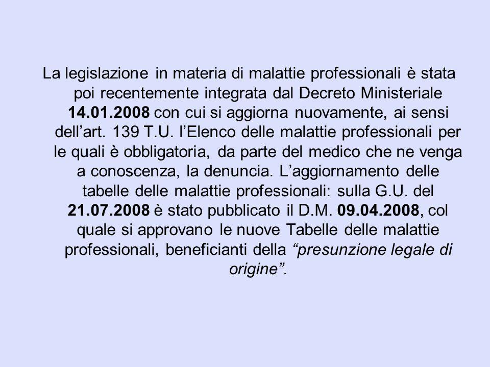 La legislazione in materia di malattie professionali è stata poi recentemente integrata dal Decreto Ministeriale 14.01.2008 con cui si aggiorna nuovam