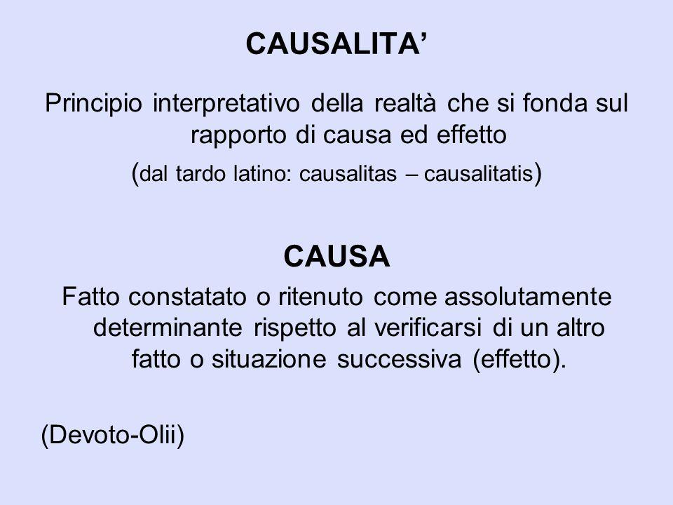 CAUSALITA' Principio interpretativo della realtà che si fonda sul rapporto di causa ed effetto ( dal tardo latino: causalitas – causalitatis ) CAUSA F