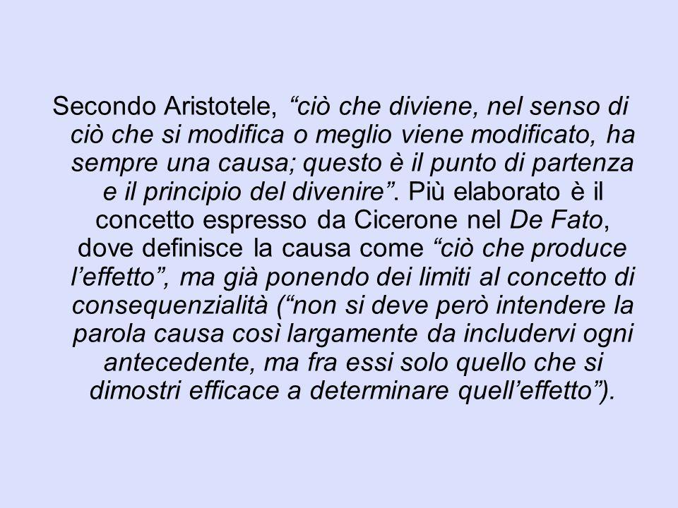 """Secondo Aristotele, """"ciò che diviene, nel senso di ciò che si modifica o meglio viene modificato, ha sempre una causa; questo è il punto di partenza e"""