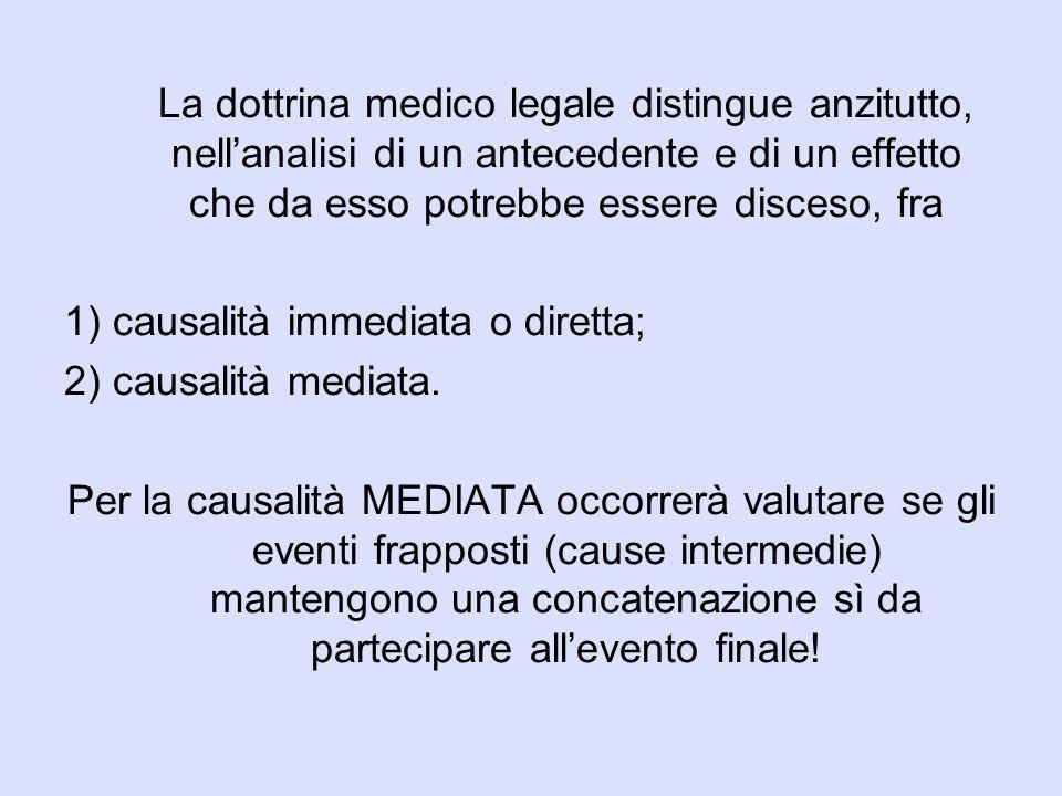 La dottrina medico legale distingue anzitutto, nell'analisi di un antecedente e di un effetto che da esso potrebbe essere disceso, fra 1) causalità im