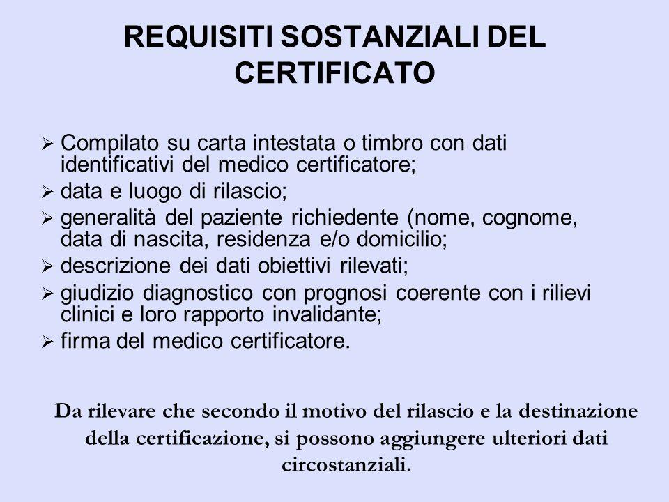 REQUISITI SOSTANZIALI DEL CERTIFICATO  Compilato su carta intestata o timbro con dati identificativi del medico certificatore;  data e luogo di rila
