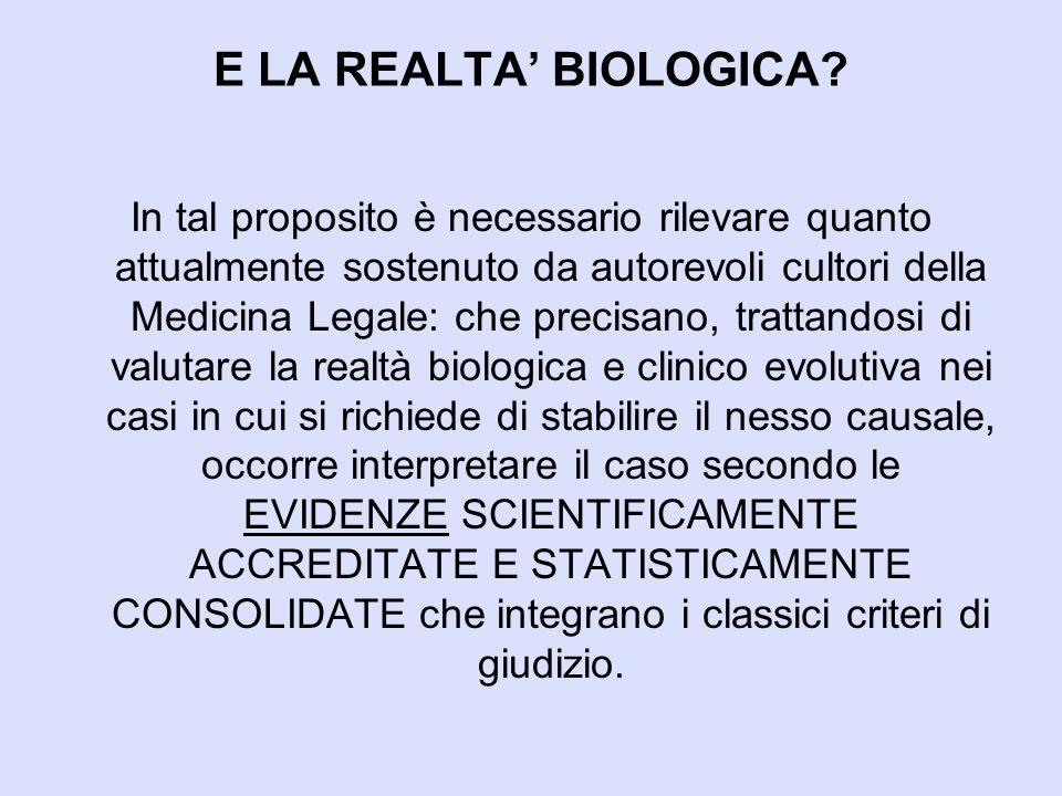 E LA REALTA' BIOLOGICA? In tal proposito è necessario rilevare quanto attualmente sostenuto da autorevoli cultori della Medicina Legale: che precisano
