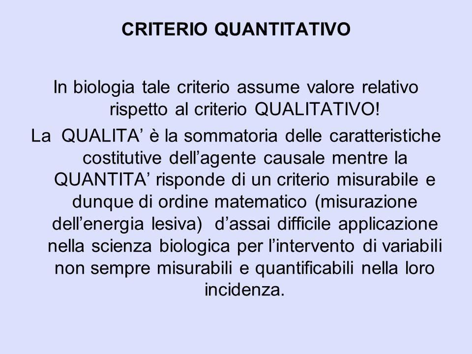 CRITERIO QUANTITATIVO In biologia tale criterio assume valore relativo rispetto al criterio QUALITATIVO! La QUALITA' è la sommatoria delle caratterist