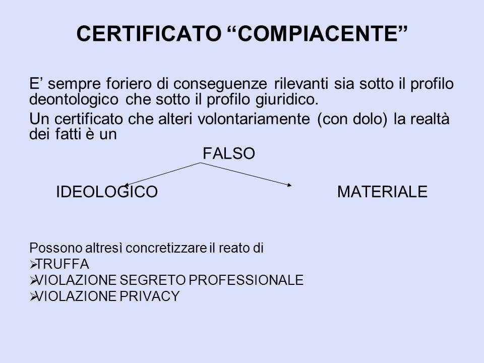 """CERTIFICATO """"COMPIACENTE"""" E' sempre foriero di conseguenze rilevanti sia sotto il profilo deontologico che sotto il profilo giuridico. Un certificato"""