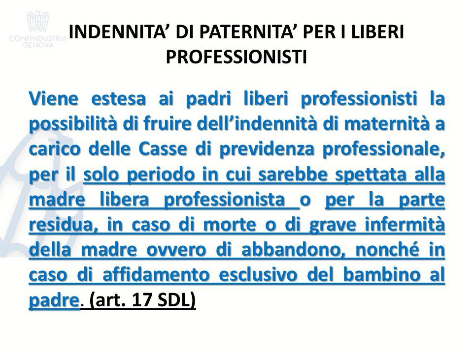 INDENNITA' DI PATERNITA' PER I LIBERI PROFESSIONISTI Viene estesa ai padri liberi professionisti la possibilità di fruire dell'indennità di maternità