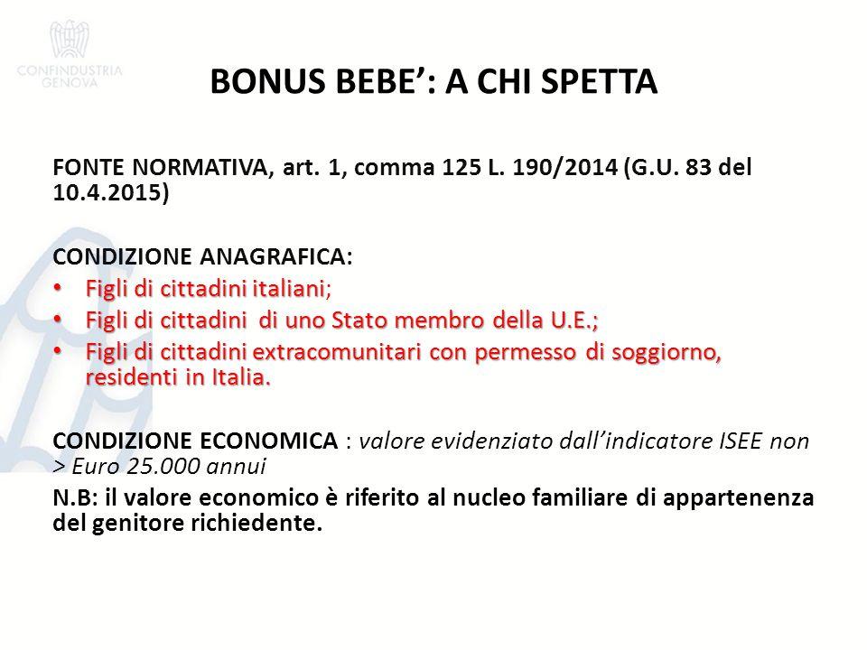 BONUS BEBE': A CHI SPETTA FONTE NORMATIVA, art. 1, comma 125 L. 190/2014 (G.U. 83 del 10.4.2015) CONDIZIONE ANAGRAFICA: Figli di cittadini italiani Fi