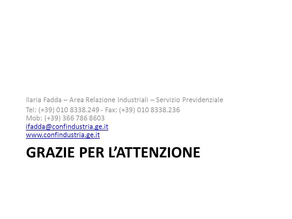 GRAZIE PER L'ATTENZIONE Ilaria Fadda – Area Relazione Industriali – Servizio Previdenziale Tel: (+39) 010 8338.249 - Fax: (+39) 010 8338.236 Mob: (+39