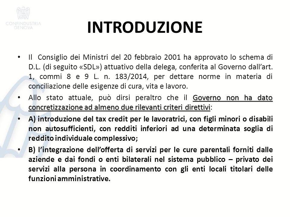 INTRODUZIONE Il Consiglio dei Ministri del 20 febbraio 2001 ha approvato lo schema di D.L. (di seguito «SDL») attuativo della delega, conferita al Gov