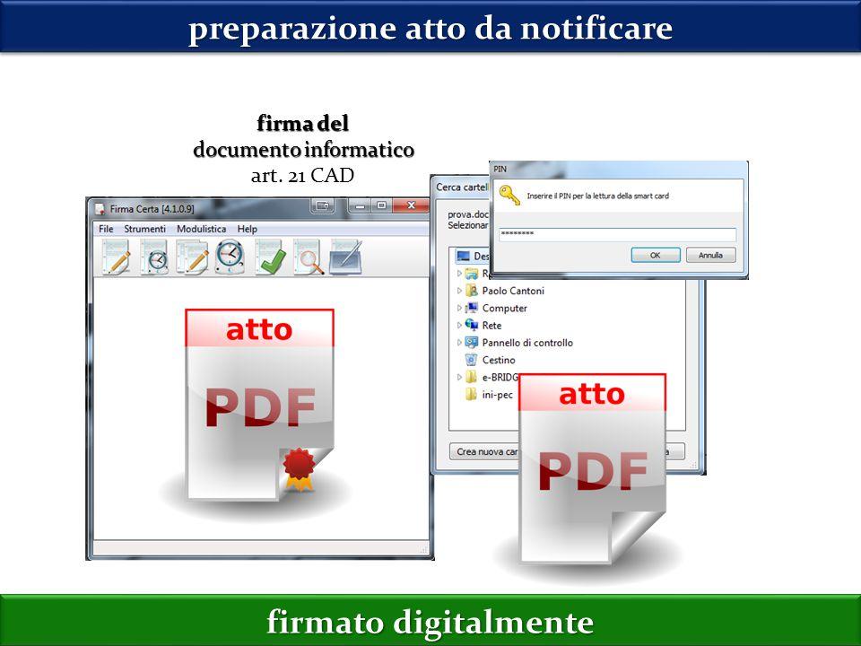 firma del documento informatico art. 21 CAD preparazione atto da notificare firmato digitalmente