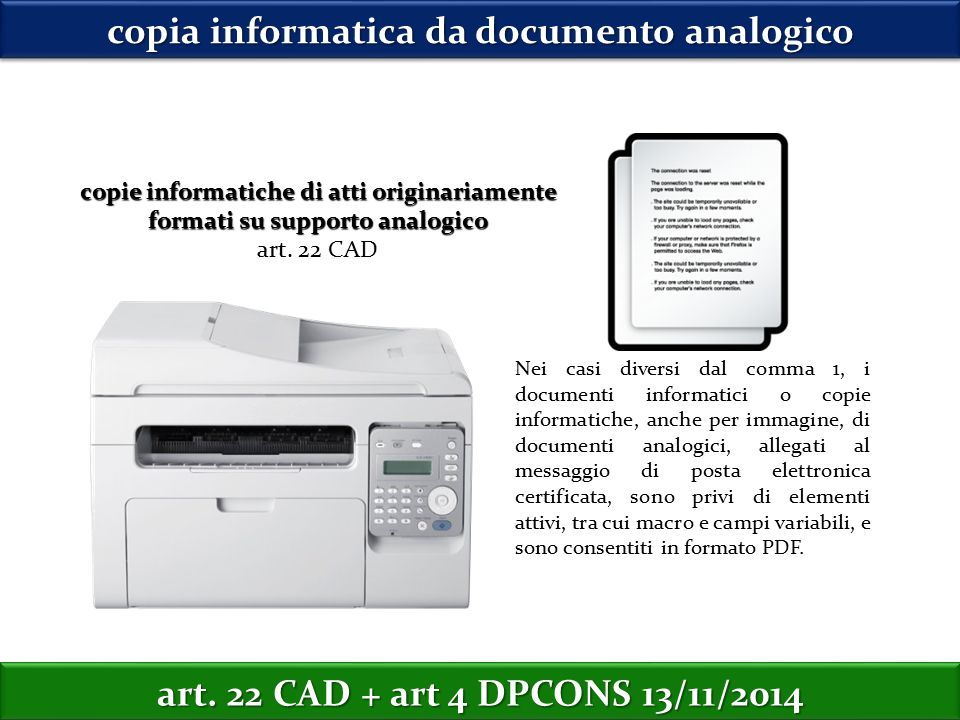 copia informatica da documento analogico copie informatiche di atti originariamente formati su supporto analogico art.