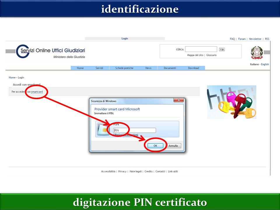 identificazioneidentificazione digitazione PIN certificato