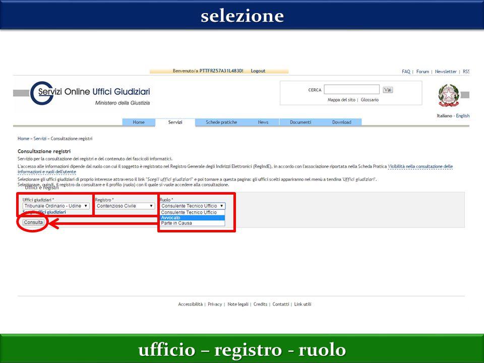 selezioneselezione ufficio – registro - ruolo