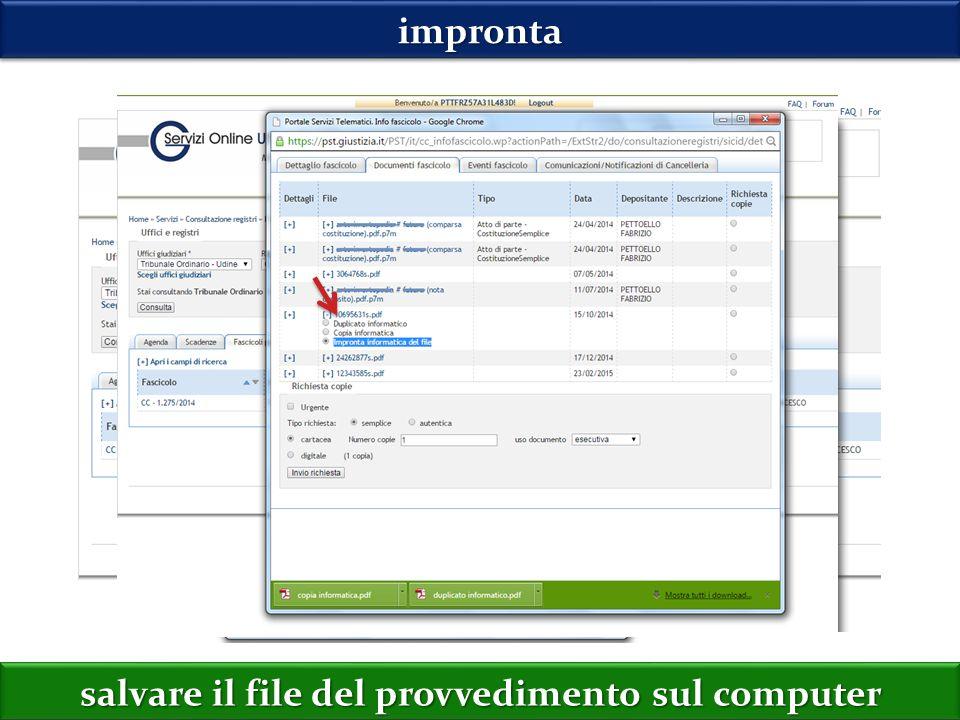 improntaimpronta salvare il file del provvedimento sul computer
