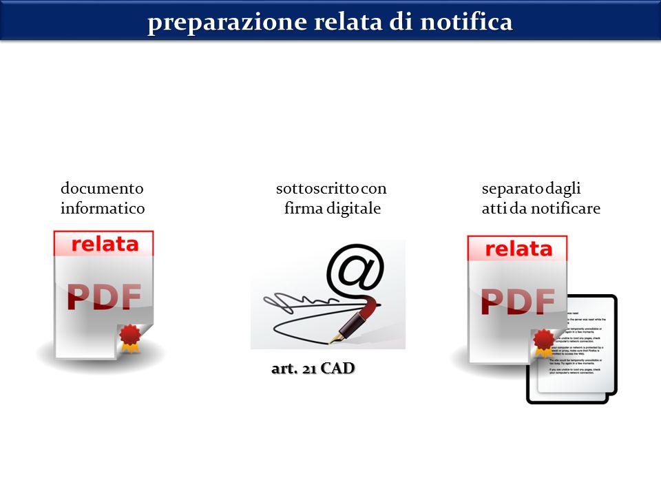 preparazione relata di notifica documento informatico separato dagli atti da notificare art.