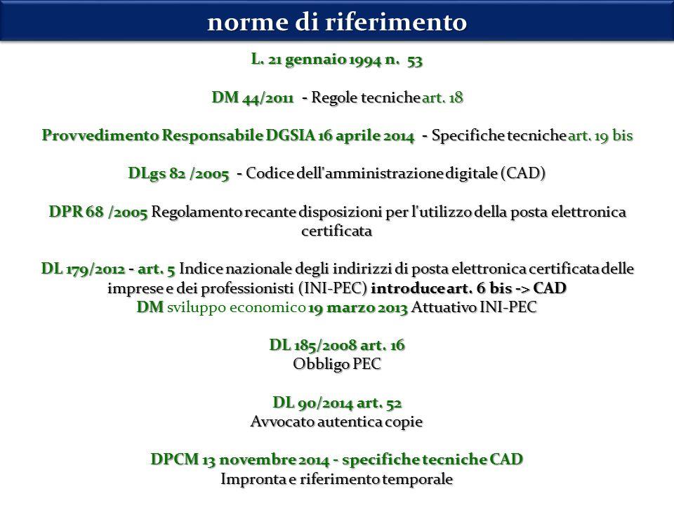 norme di riferimento L. 21 gennaio 1994 n. 53 DM 44/2011 - Regole tecniche art.
