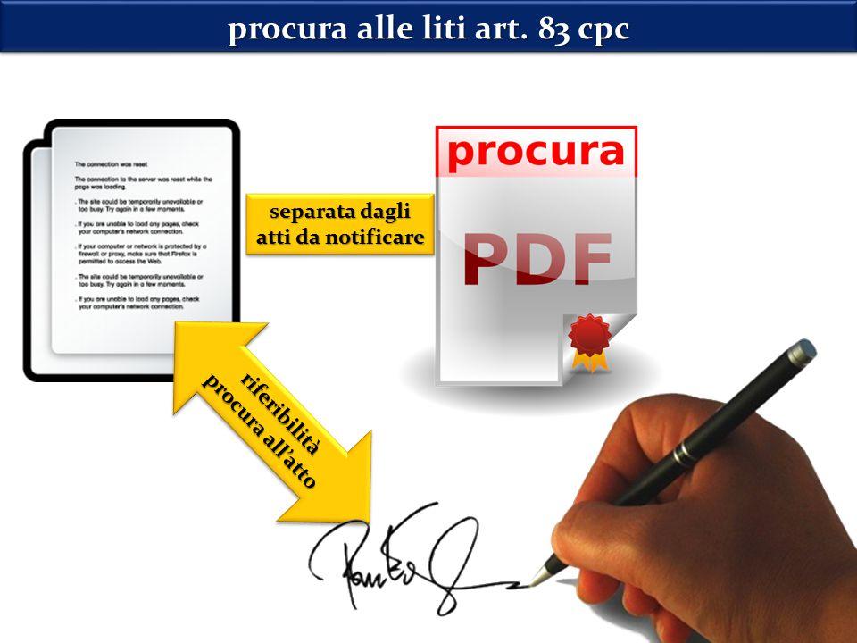 riferibilità procura all'atto riferibilità procura alle liti art.