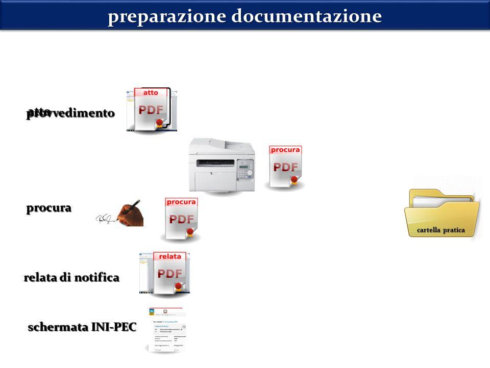 preparazione documentazione atto procura relata di notifica cartella pratica schermata INI-PEC provvedimento
