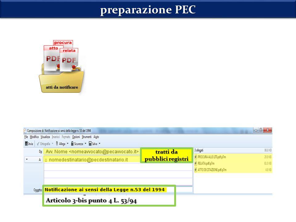 preparazione PEC Articolo 3-bis punto 4 L. 53/94 tratti da pubblici registri atti da notificare