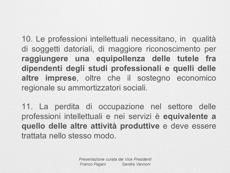 10. Le professioni intellettuali necessitano, in qualità di soggetti datoriali, di maggiore riconoscimento per raggiungere una equipollenza delle tute