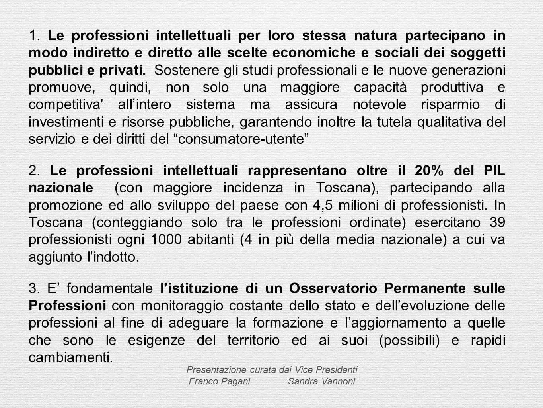 1. Le professioni intellettuali per loro stessa natura partecipano in modo indiretto e diretto alle scelte economiche e sociali dei soggetti pubblici