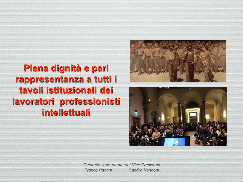 Piena dignità e pari rappresentanza a tutti i tavoli istituzionali dei lavoratori professionisti intellettuali Presentazione curata dai Vice Presidenti Franco Pagani Sandra Vannoni