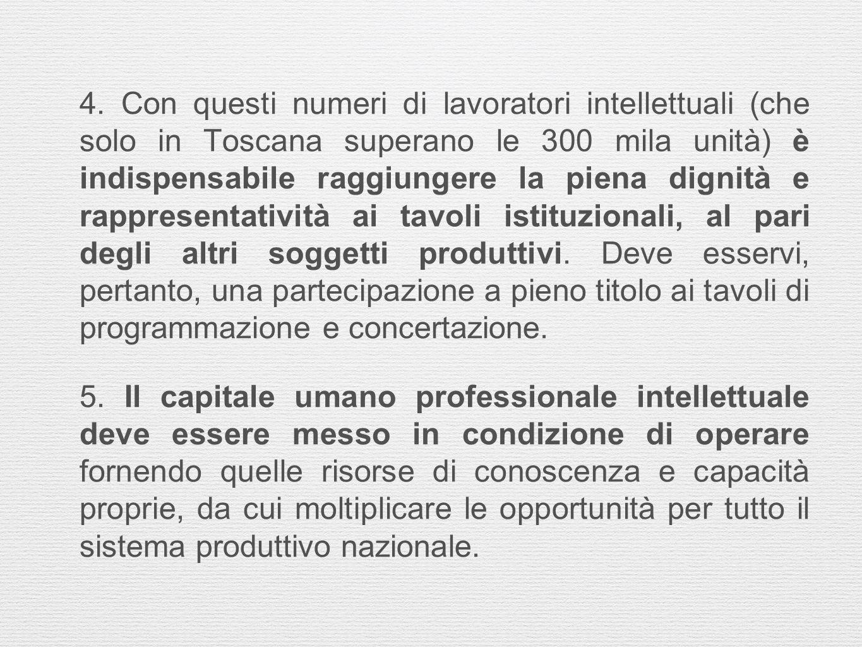 4. Con questi numeri di lavoratori intellettuali (che solo in Toscana superano le 300 mila unità) è indispensabile raggiungere la piena dignità e rapp