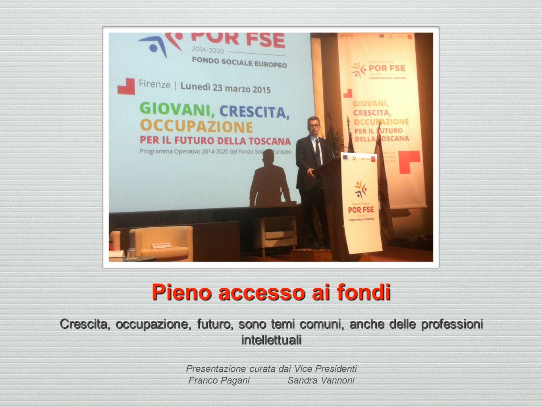 Pieno accesso ai fondi Crescita, occupazione, futuro, sono temi comuni, anche delle professioni intellettuali Presentazione curata dai Vice Presidenti Franco Pagani Sandra Vannoni