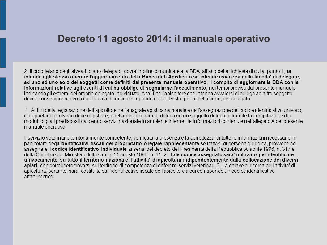 Decreto 11 agosto 2014: il manuale operativo 2. Il proprietario degli alveari, o suo delegato, dovra' inoltre comunicare alla BDA, all'atto della rich
