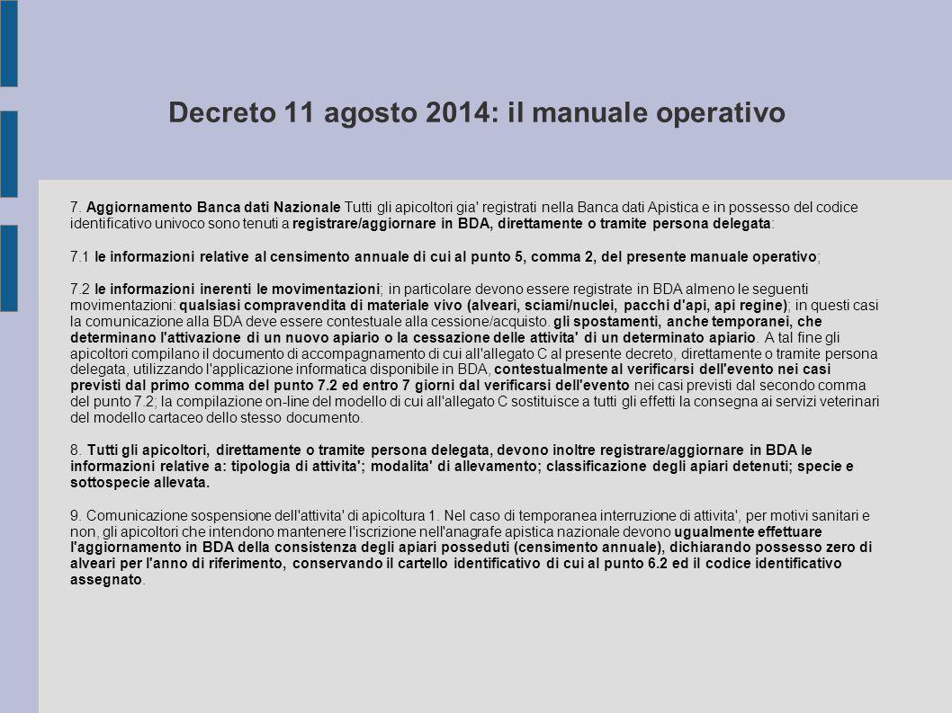 Decreto 11 agosto 2014: il manuale operativo 7. Aggiornamento Banca dati Nazionale Tutti gli apicoltori gia' registrati nella Banca dati Apistica e in