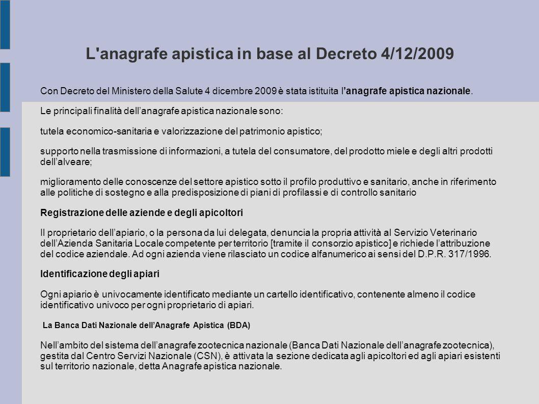 L anagrafe apistica in base al Decreto 4/12/2009 Con Decreto del Ministero della Salute 4 dicembre 2009 è stata istituita l'anagrafe apistica nazionale.