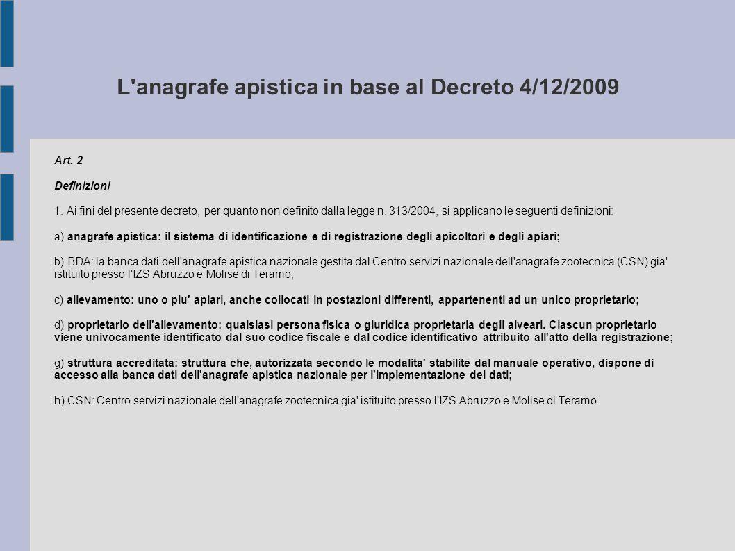 L'anagrafe apistica in base al Decreto 4/12/2009 Art. 2 Definizioni 1. Ai fini del presente decreto, per quanto non definito dalla legge n. 313/2004,