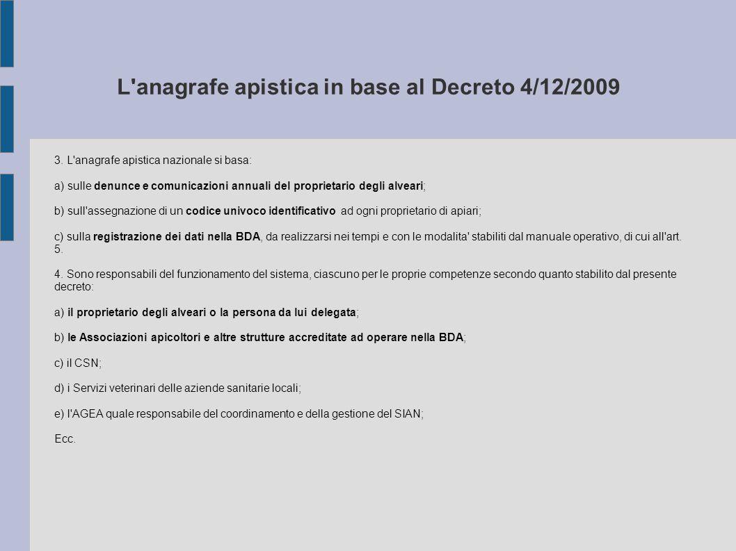 L'anagrafe apistica in base al Decreto 4/12/2009 3. L'anagrafe apistica nazionale si basa: a) sulle denunce e comunicazioni annuali del proprietario d