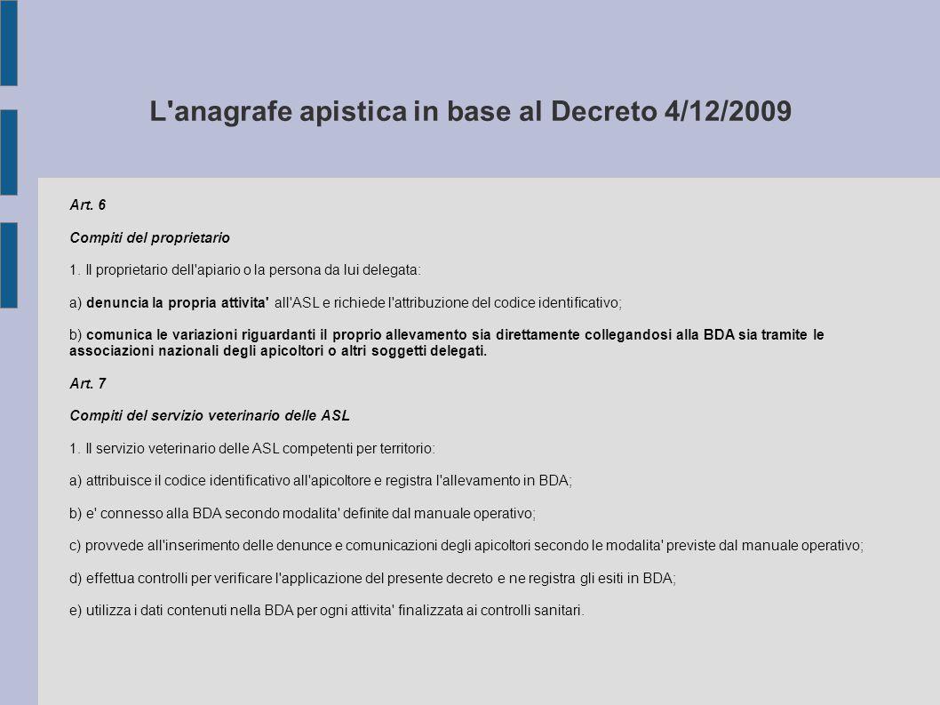 L'anagrafe apistica in base al Decreto 4/12/2009 Art. 6 Compiti del proprietario 1. Il proprietario dell'apiario o la persona da lui delegata: a) denu