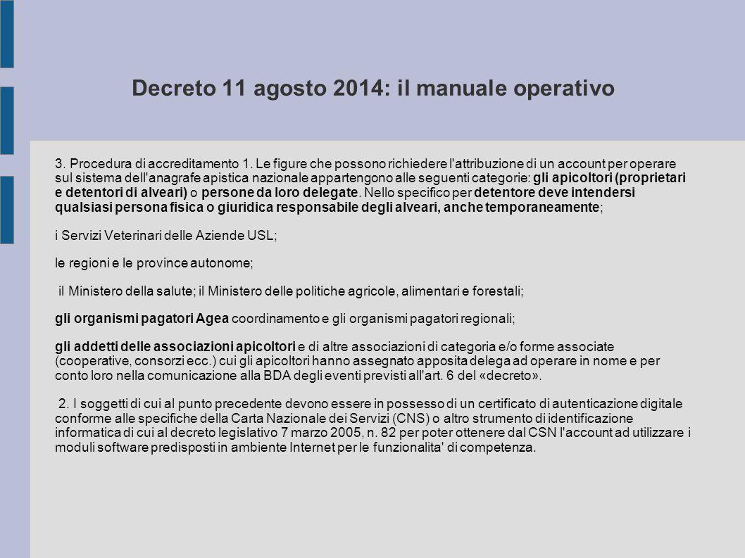 Decreto 11 agosto 2014: il manuale operativo 3. Procedura di accreditamento 1. Le figure che possono richiedere l'attribuzione di un account per opera