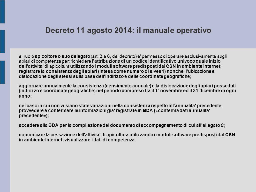 Decreto 11 agosto 2014: il manuale operativo al ruolo apicoltore o suo delegato (art. 3 e 6, del decreto) e' permesso di operare esclusivamente sugli