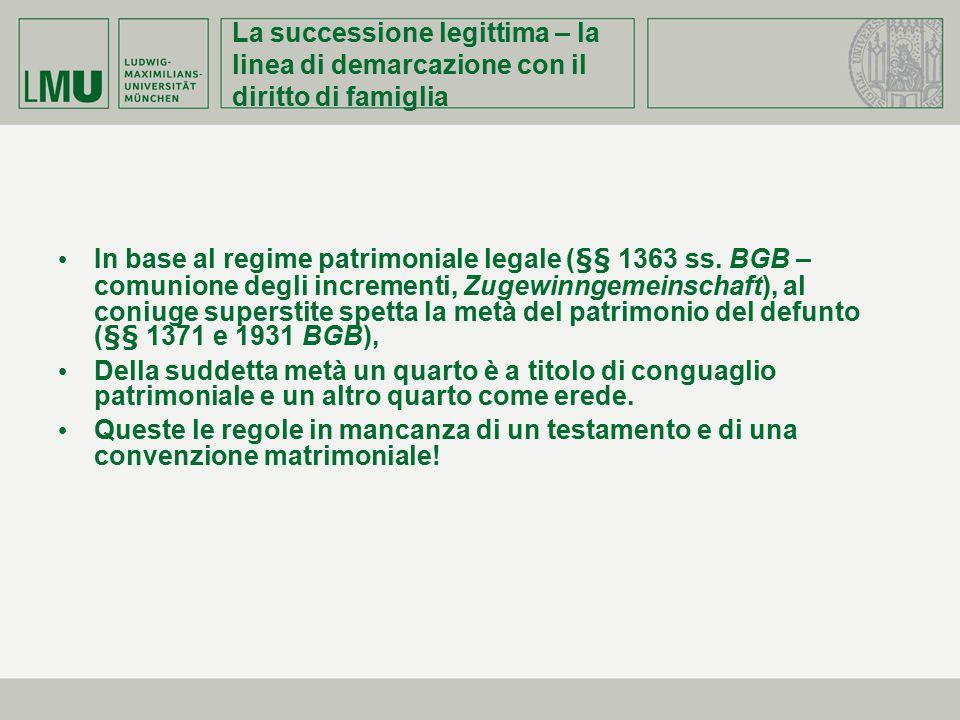 La successione legittima – la linea di demarcazione con il diritto di famiglia In base al regime patrimoniale legale (§§ 1363 ss. BGB – comunione degl