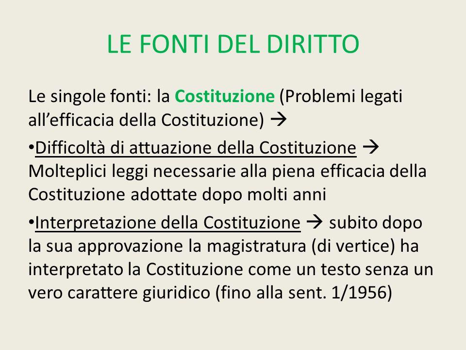 LE FONTI DEL DIRITTO Le singole fonti: la Costituzione (Problemi legati all'efficacia della Costituzione)  Difficoltà di attuazione della Costituzion