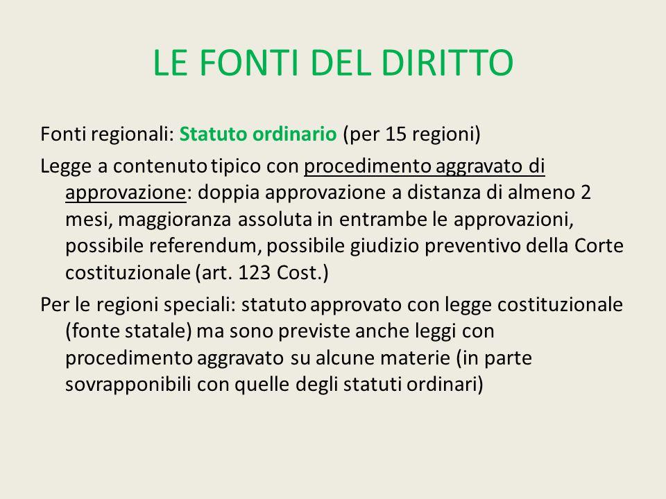 LE FONTI DEL DIRITTO Fonti regionali: Statuto ordinario (per 15 regioni) Legge a contenuto tipico con procedimento aggravato di approvazione: doppia a